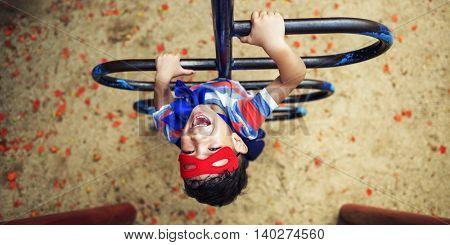 Superhero Little Boy Imagination Freedom Happiness Concept