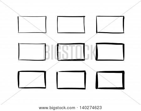 Hand-drawn vector rectangles abstract figures designs set