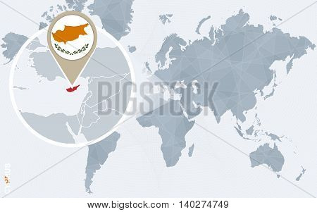 Abstract Blue World Map With Magnified Cyprus.