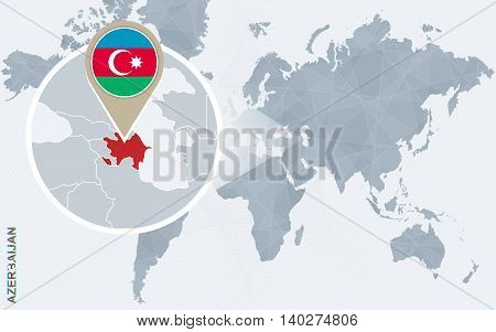 Abstract Blue World Map With Magnified Azerbaijan.