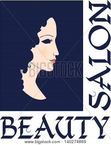 Beautiful silhouette of a girl in profile. Design template for beauty and spa salons, cosmetics, fashion themes. Vector illustration.