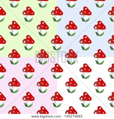 Four baby seamless pattern with mushroom with red cap, white dots and white stipe - fly bane, on a green, blue, pink and white background