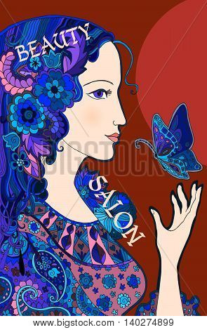 Colorful doodle portrait of beautiful woman with butterfly. Design template for beauty salons, cosmetics, fashion themes. Vector illustration.