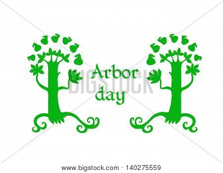 Arbor day - green tree silhouettes on white background. Vector illustration.