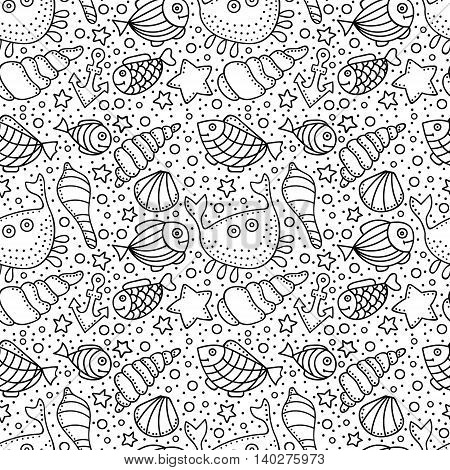 Vector seamless pattern with fish star shell crab anchor and bubble. Hand drawn doodle sea elements. Black and white background.