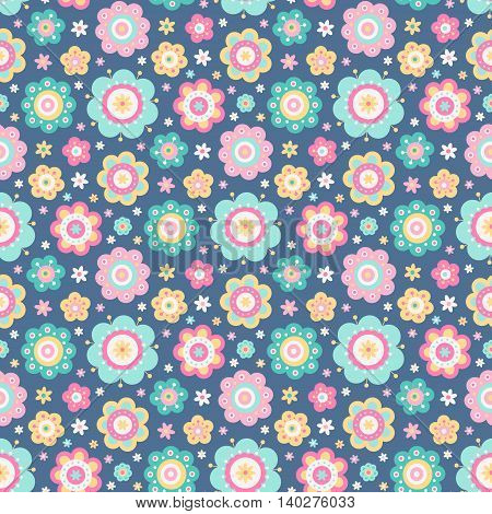 Flat flowers. Vector seamless pattern with cute flat flowers. Pastel colors - light pink yellow green and dark blue. Nice baby background.