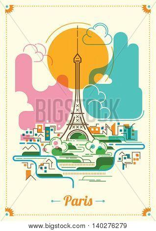 Colorful Paris illustration. Vector illustration.