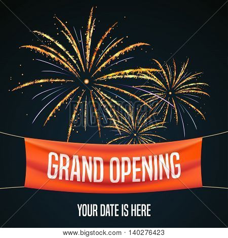 Grand opening vector illustration background for new store club etc with firework. Template banner flyer design element for opening event