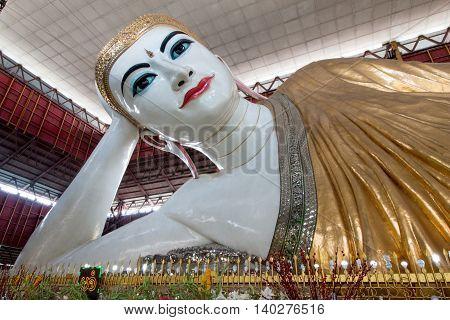 Yangon, Myanmar-july 28: Big Buddha, Shwethalyaung Reclining Buddha Or Chauk Htat Gyi Reclining Budd