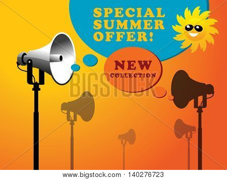 Megaphone background with space for text, vector illustration