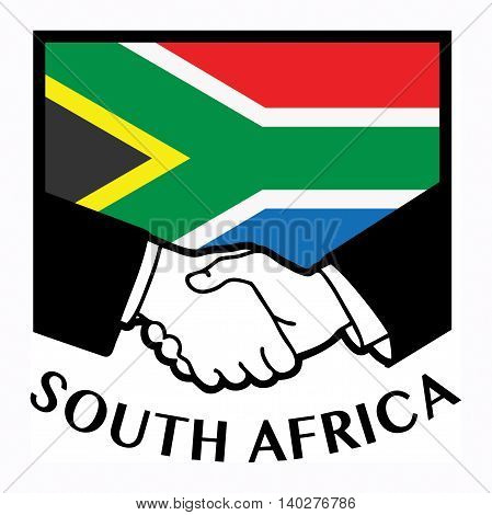 South Africa flag and business handshake, vector illustration