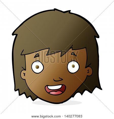 cartoon happy female face