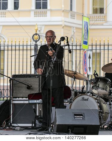 St. Petersburg, Russia - 23 July, Musician with a violin, 23 July, 2016. Speech by David Goloschekin with his jazz group on the Arts Square in St. Petersburg.