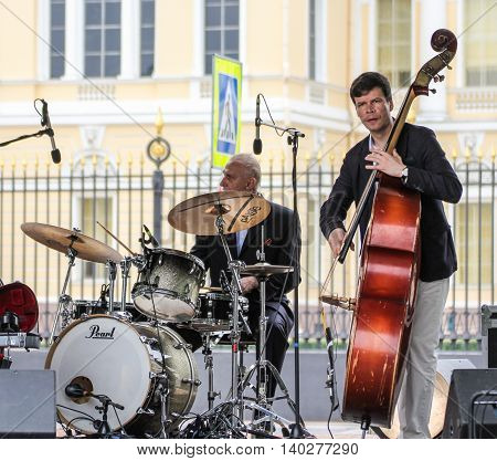 St. Petersburg, Russia - 23 July, Musicians with instruments, 23 July, 2016. Speech by David Goloschekin with his jazz group on the Arts Square in St. Petersburg.