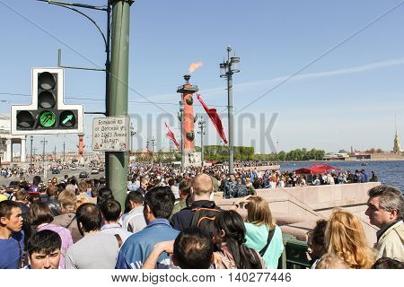 St. Petersburg, Russia - 9 May, Large crowd of people in the city, 9 May, 2016. Celebration day of victory in the center of St. Petersburg.