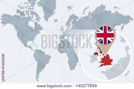 Abstract Blue World Map With Magnified United Kingdom.