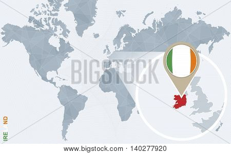 Abstract Blue World Map With Magnified Ireland.