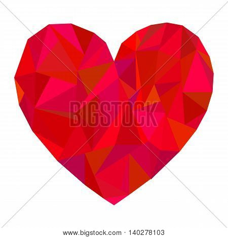 Vector polygonal red heart on white background. Decorative element.