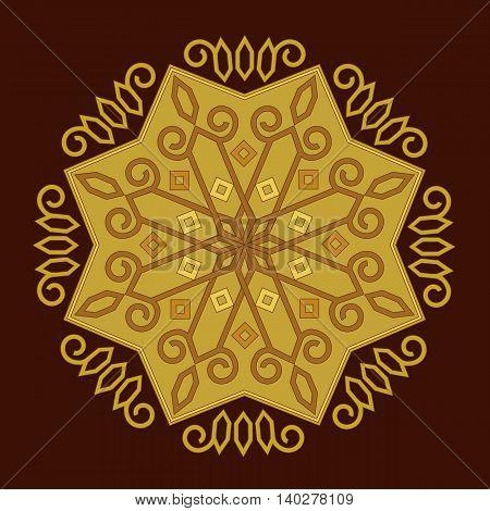Vector decorative element mandala in gold color.