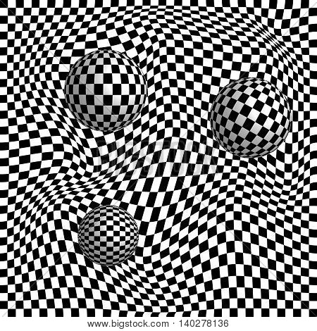 Abstract 3d effect checkered background with spheres. Optical illusion.