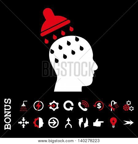 Brain Washing glyph bicolor icon. Image style is a flat iconic symbol, red and white colors, black background.