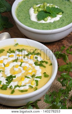 bowl of puree soup mealies and pea with herbs