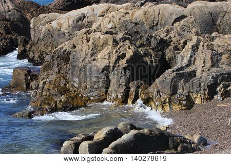 This is an image of rock formations at Point Lobos State Preserve near Carmel, California, U.S.A.