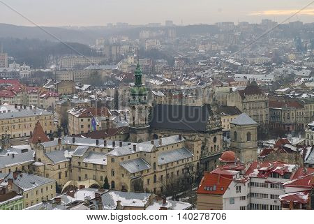 Winter Panorama Of Lviv Covered By Snow, Ukraine.lviv (lvov), Eastern Ukraine - The View Of The City