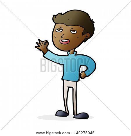 cartoon man making excellent gesture