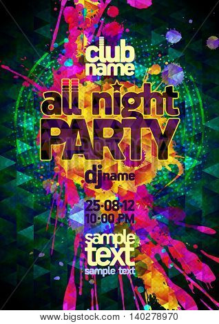 All night party abstract poster mock up, polygon and  vibrant blots, copy space for text