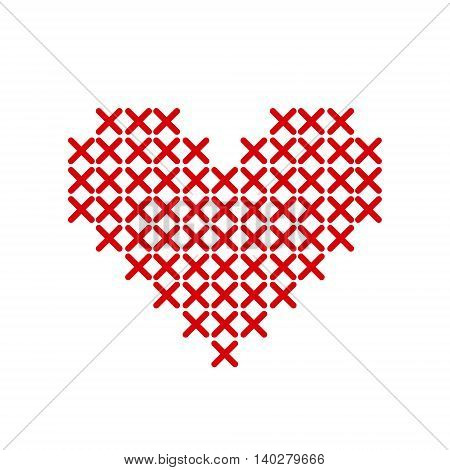 Hand-made red heart embroidered with a cross isolated on white background. Art vector illustration.