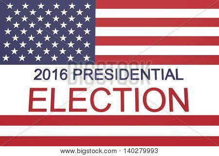 2016 US Presidential election with Stars and Stripes 3d illustration