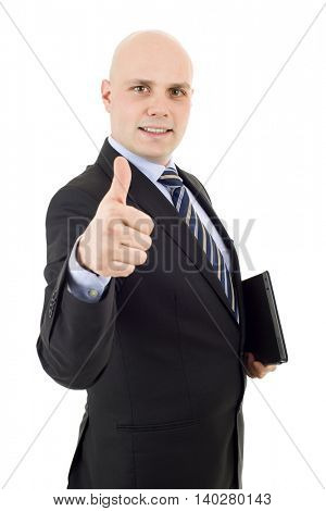 proud businessman with a tablet pc going thumb up, isolated