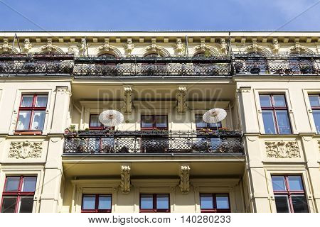 Balcony Of An Old House With Stucco In Berlin, Kreuzberg
