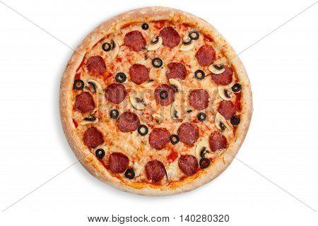 Italian salami pizza white whole oliva backed