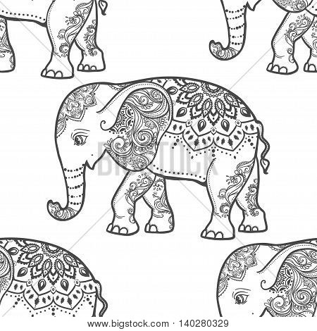 Cute pattern with Elephant. Frame of animal made in vector. Elephant Illustration for design, pattern, textiles. Hand drawn map with Elephant. Use for children s clothes, pajamas, web sites