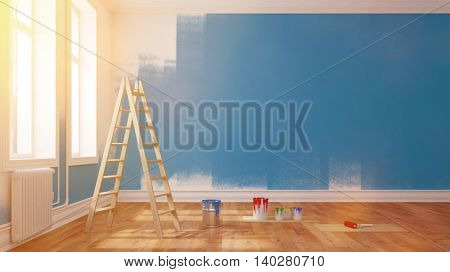 Painting wall blue in an empty room in summer (3D Rendering)