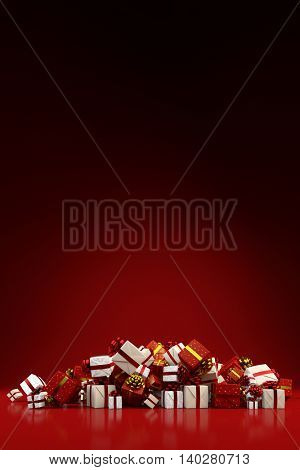 Heap of different red and white christmas gifts with copy space (3D Rendering)