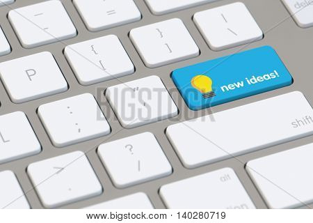 New ideas online as concept on a computer keyboard (3D Rendering)