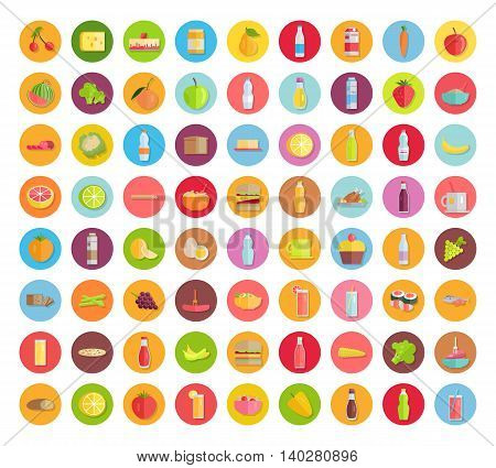 Big set of food icons. Fruits, vegetables, meat, sweets, beverages, bread, pizza, salads, sandwiches, honey, sauces milk products for farm grocery shop food delivery cafe menu illustrations