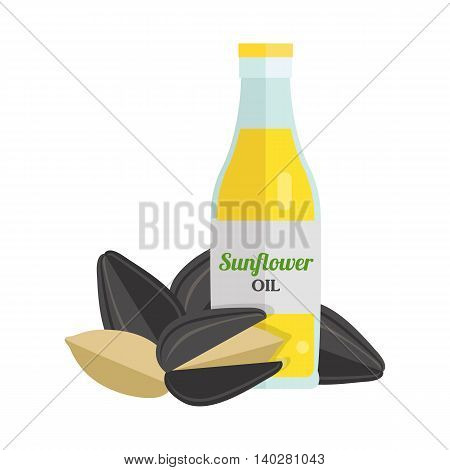 Sunflower oil and seeds vector. Flat design. Healthy food, diet and cosmetic products. Seasoning. Culinary ingredient, source of protein, vitamins, fatty acids. Isolated on white background.