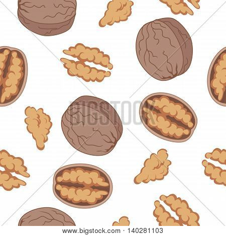 Walnut seamless pattern vector in flat design. Traditional snack. Healthy food. Nut ornament for wallpapers, polygraphy, textiles, web page design, surface textures. Isolated on white background.