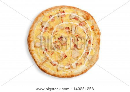 pizza chicken bacon cheese pineapple sauce backed
