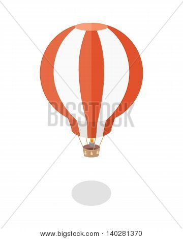balloon vector illustration in flat style. Aerostat picture for travel, tourism, vacation conceptual banners, web, app, icons, infographics, logotype design. Isolated on white background.