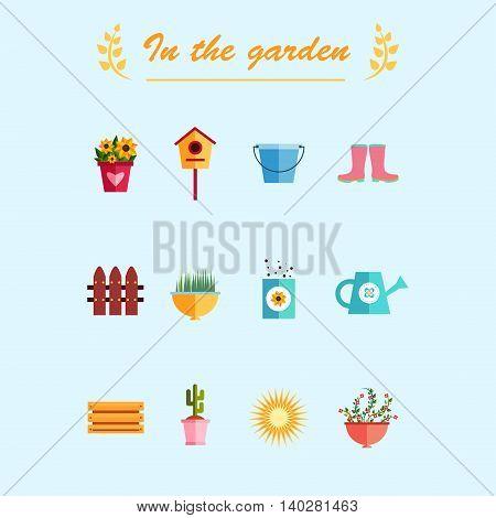 Garden flat icons illustration blue background EPS 10