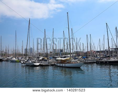 Barcelona Spain 05 july 2016: Luxury sail yachts in the sea port.