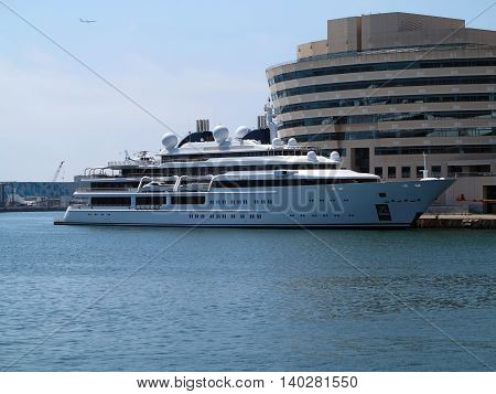 Barcelona Spain 05 july 2016: Luxury large super yacht in the port