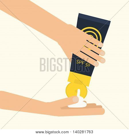 Hands applying sunscreen. Vector illustration for using spf sunblock cream from plastic contauner. Flat style