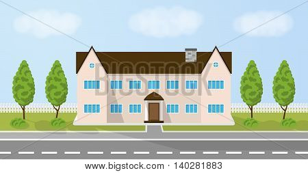 Family house. Home with garden. House in flat style. Day time landscape with cottage. Vector illustration.