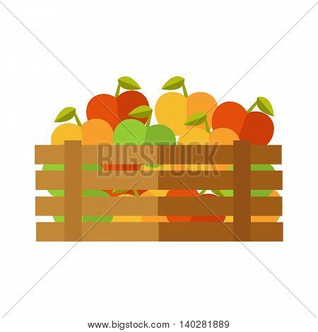 Fresh apples at the market vector. Flat design. Delivery farm products, grocery store assortment, foods for diet concept. Illustration of wooden box full of ripe vegetables. Isolated on white.